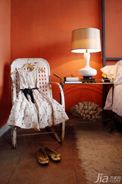欧式风格公寓红色富裕型120平米卧室卧室背景墙床海外家居