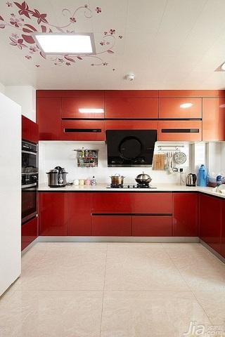 简约风格四房红色富裕型140平米以上厨房吊顶橱柜设计图纸