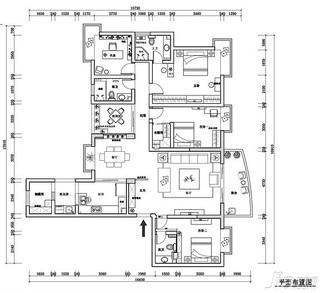 简约风格四房富裕型140平米以上户型图