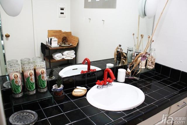 简约风格二居室简洁黑白5-10万卫生间背景墙洗手台海外家居