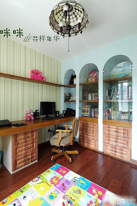loft风格跃层富裕型140平米以上书房背景墙壁纸效果图