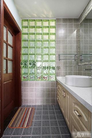 loft风格跃层富裕型140平米以上卫生间背景墙洗手台图片