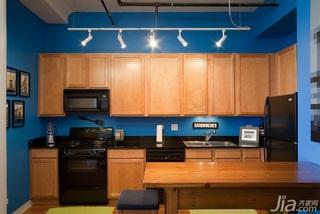 简约风格公寓蓝色经济型110平米厨房吧台橱柜海外家居