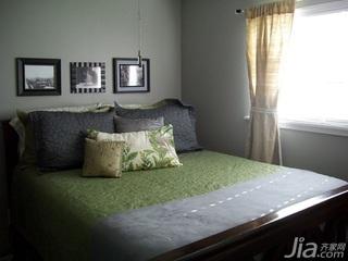 美式乡村风格二居室黑白100平米卧室床海外家居