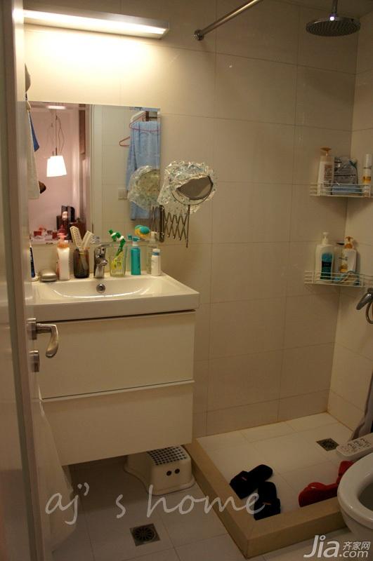 宜家风格小户型白色经济型卫生间洗手台效果图高清图片