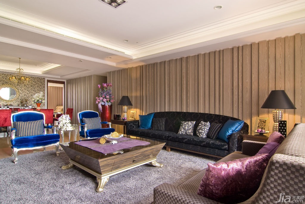 新古典风格公寓豪华型140平米以上客厅背景墙沙发台湾家居