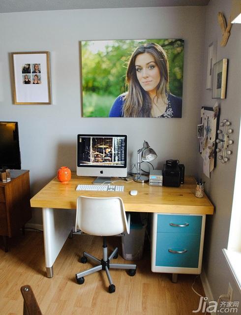 简约风格公寓经济型120平米卧室照片墙书桌海外家居