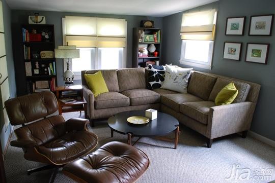 美式乡村风格别墅经济型130平米书房沙发海外家居图片