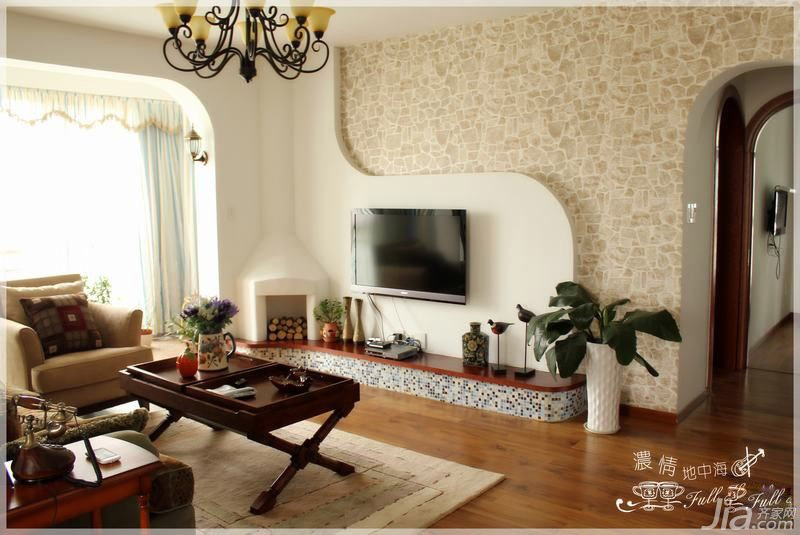 混搭风格三居室15-20万110平米客厅背景墙婚房家居图片