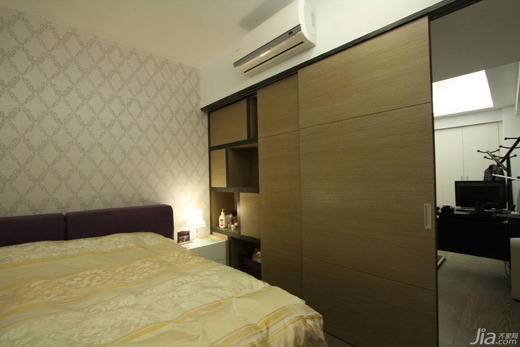 简约风格公寓富裕型140平米以上卧室卧室背景墙衣柜台湾家居