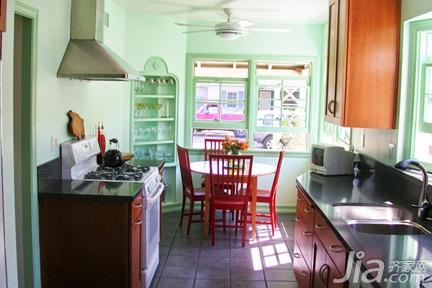 简约风格三居室绿色经济型100平米厨房橱柜图片