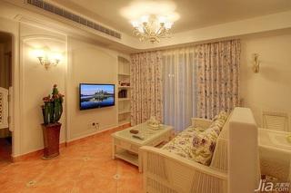 田园风格三居室5-10万80平米客厅背景墙窗帘效果图