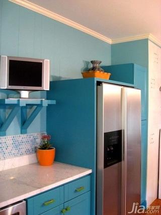 混搭风格公寓蓝色经济型90平米厨房海外家居