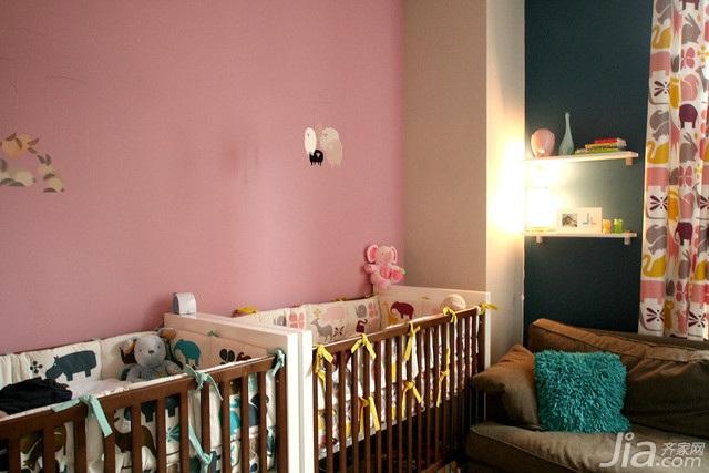 简约风格别墅粉色经济型130平米儿童房儿童床海外家居