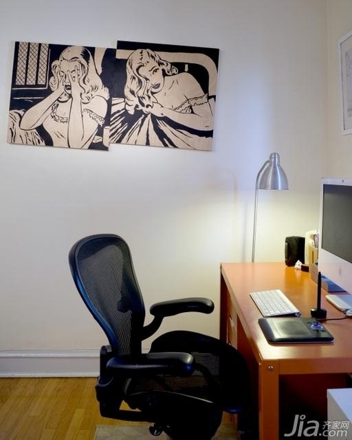 北欧风格小户型经济型70平米书房书桌效果图