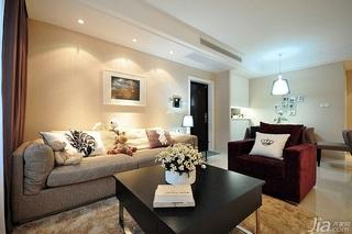简欧风格二居室富裕型客厅背景墙沙发效果图