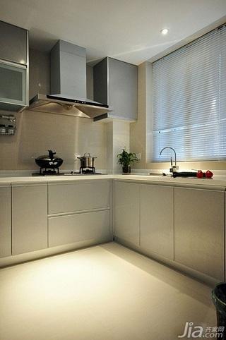 简欧风格二居室简洁冷色调富裕型厨房橱柜订做