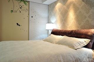 简欧风格二居室富裕型卧室卧室背景墙壁纸效果图
