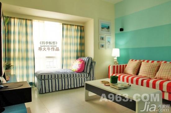 混搭风格复式可爱蓝色富裕型90平米客厅飘窗茶几婚房家装图