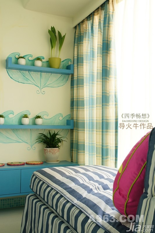 混搭风格复式温馨蓝色富裕型90平米客厅飘窗婚房家装图片