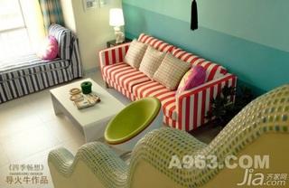 混搭风格复式温馨蓝色富裕型90平米客厅楼梯婚房家装图片