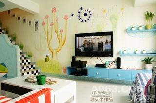 混搭风格复式可爱黄色富裕型90平米客厅背景墙电视柜婚房家装图片