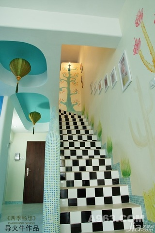 混搭风格复式温馨富裕型90平米楼梯婚房家居图片