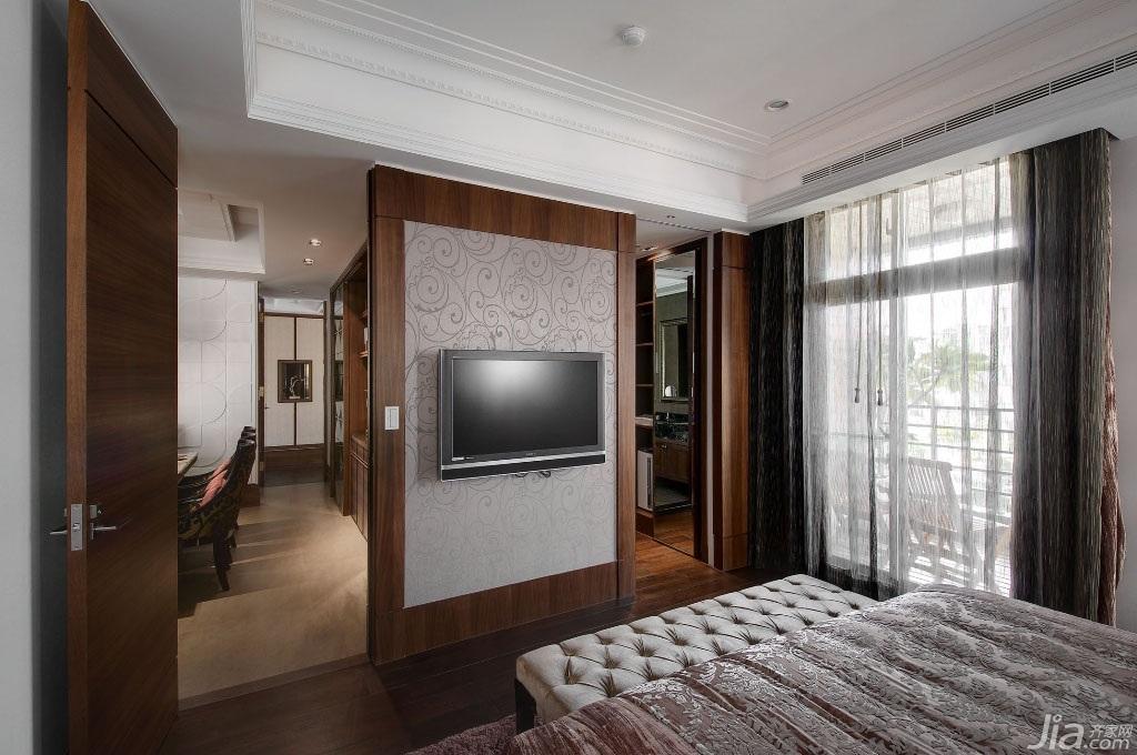 新古典风格公寓豪华型140平米以上卧室电视背景墙台湾家居图片