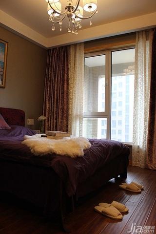 简约风格二居室10-15万80平米卧室窗帘效果图