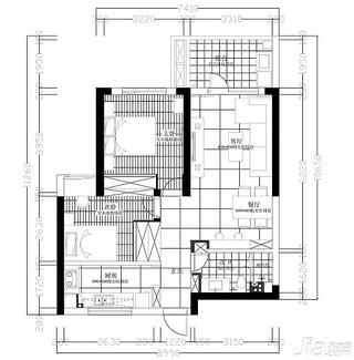 简约风格二居室10-15万80平米户型图