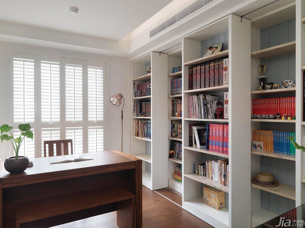 美式乡村风格公寓富裕型130平米书房吊顶书架台湾家居