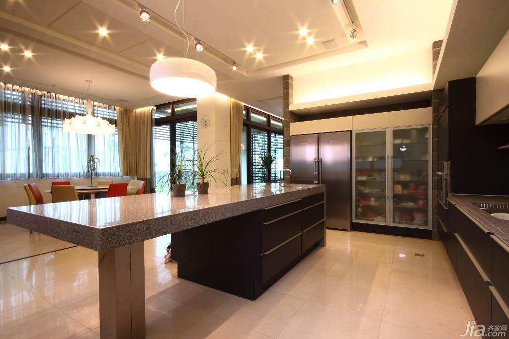 简约风格别墅富裕型厨房吧台橱柜台湾家居