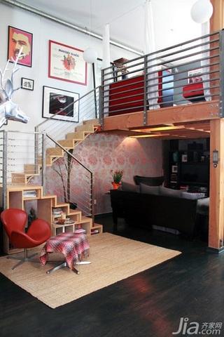 简约风格跃层富裕型客厅楼梯海外家居