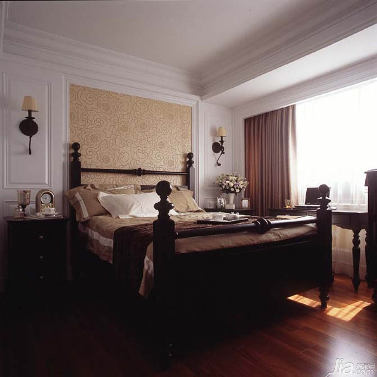 美式风格公寓富裕型140平米以上卧室卧室背景墙床台湾家居