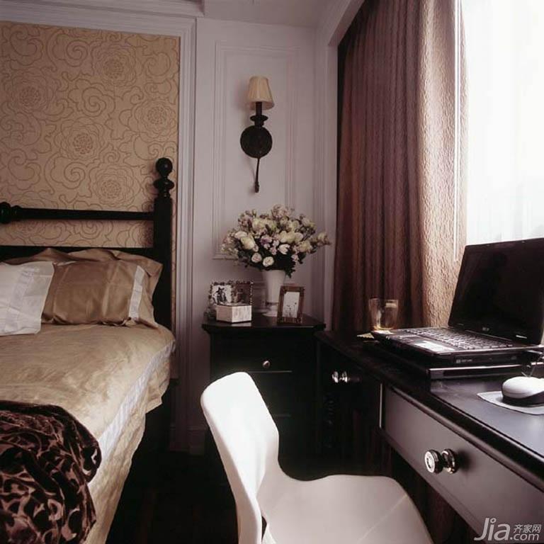 美式风格公寓富裕型140平米以上卧室卧室背景墙书桌台湾家居