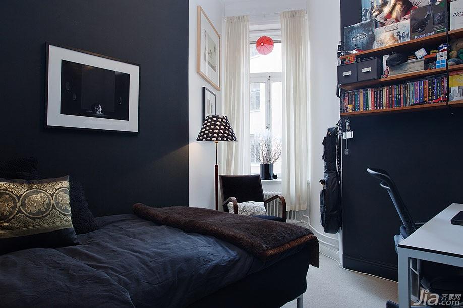 宜家风格复式黑色经济型60平米儿童房床效果图