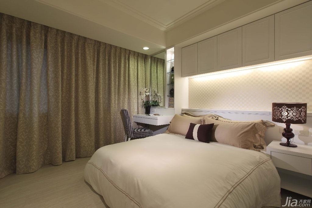 新古典风格公寓140平米以上卧室卧室背景墙壁纸台湾家居