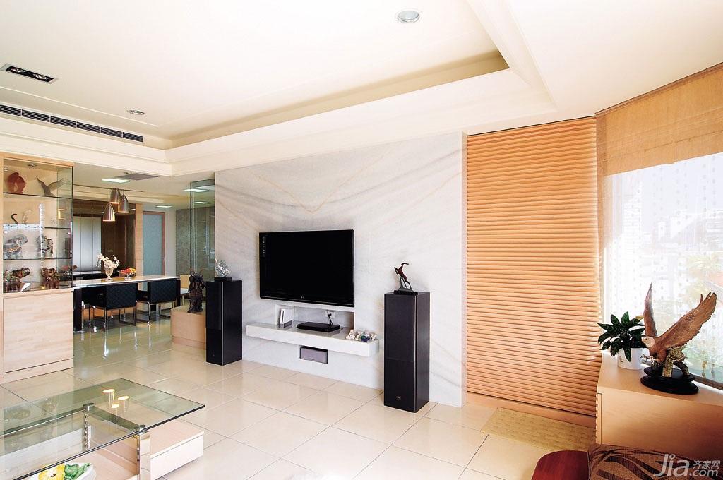 新古典风格公寓富裕型客厅电视背景墙设计图纸图片