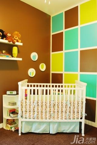 混搭风格别墅经济型100平米卧室卧室背景墙儿童床海外家居