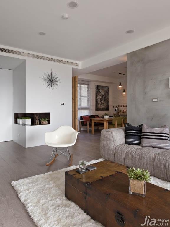简约风格公寓富裕型80平米客厅吊顶茶几台湾家居