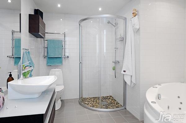 北欧风格复式白色经济型卫生间洗手台效果图