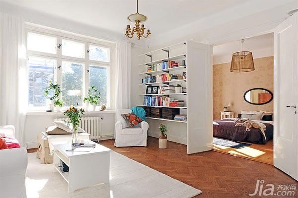 宜家风格二居室经济型客厅书架效果图