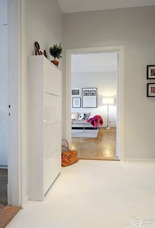 宜家风格三居室白色经济型门厅玄关柜效果图