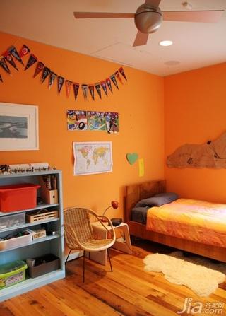 简约风格别墅橙色经济型100平米卧室床海外家居