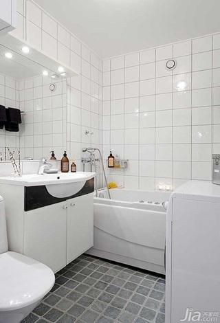 北欧风格公寓白色经济型卫生间洗手台图片