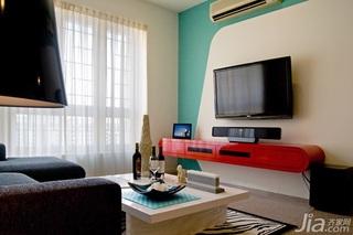 简约风格二居室经济型电视背景墙窗帘婚房家装图片