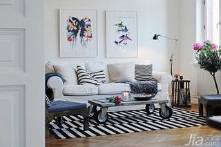 宜家风格四房白色经济型客厅沙发背景墙沙发效果图