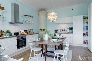 宜家风格四房蓝色经济型厨房背景墙橱柜效果图