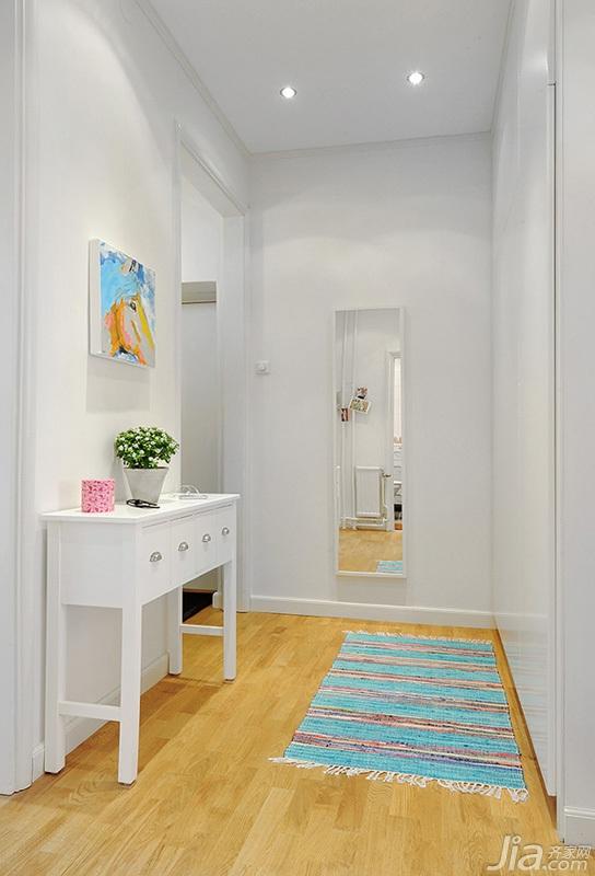 北欧风格小户型白色经济型50平米门厅玄关柜效果图