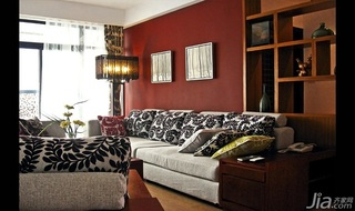 中式风格三居室红色富裕型140平米以上客厅沙发背景墙沙发效果图